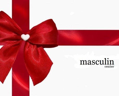 noeud cadeau rouge en soie et logo masculin center