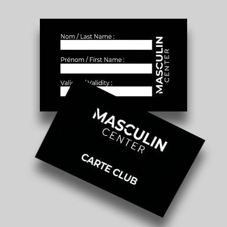 Carte club au format carte de crédit disposé l'une sur l'autre, recto et verso